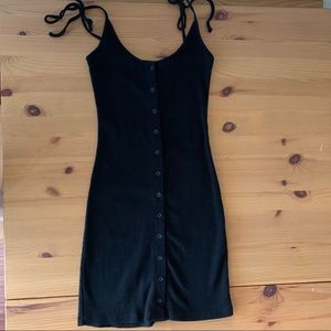 Brandy Melville Black Ribbed Cotton Dress